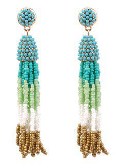Beaded Tassel Bohemian Earrings - Blue