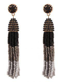 Beaded Tassel Bohemian Earrings - Dark Grey