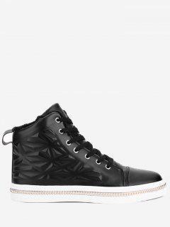 Geometric Curb-chain Embossed Skate Shoes - Black 44