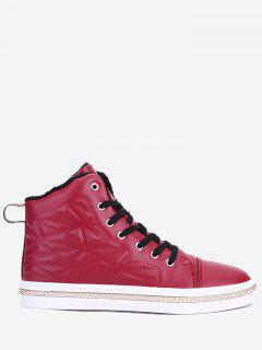 Geometric Curb-chain Embossed Skate Shoes - Red 41