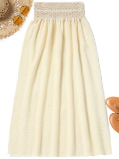 Mesh High Slit Cover Up Skirt - Palomino