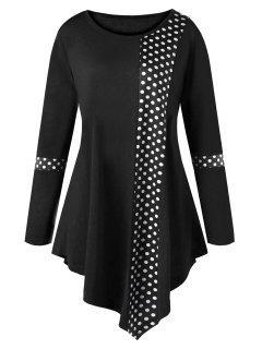 Plus Size Polka Dot Asymmetrical Tunic T-shirt - Black Xl