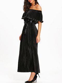 Vestido Largo Plisado Con Hombros Descubiertos - Negro Xl