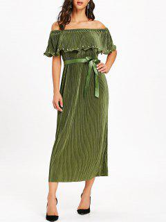 Off The Shoulder Pleated Maxi Dress - Army Green L
