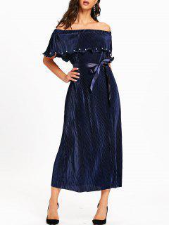 Off The Shoulder Pleated Maxi Dress - Purplish Blue L
