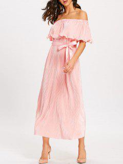 Off The Shoulder Pleated Maxi Dress - Pink L