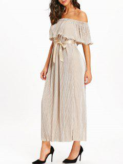 Off The Shoulder Pleated Maxi Dress - Apricot Xl