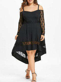 Plus Size Lace Insert Dip Hem Party Dress - Black Xl