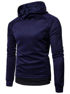 Hooded Panel Design Pullover Hoodie - Cadetblue 2xl