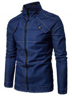 Stand Collar Suture Zip Up Denim Jacket - Blue L