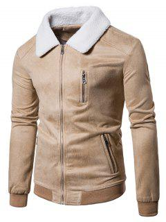 Faux Fur Collar Ribbed Zip Up Suede Jacket - Palomino L