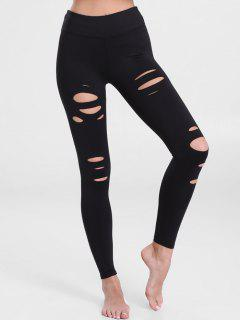 Distressed Workout Leggings - Black L