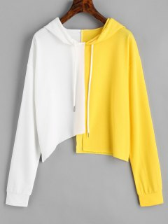 Two Tone Drawstring Asymmetric Hoodie - White And Yellow M