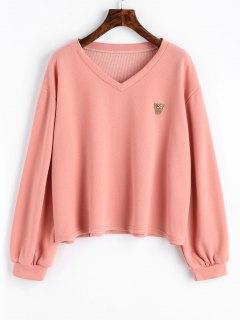 Sweat-shirt à Col En V Et Manches Lanternes - Rose PÂle S