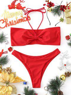 Padded Bandeau Bikini Set - Red M