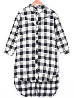 Plaid Dip Hem Longline Shirt - Black White