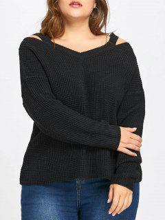 Plus Size Cold Shoulder High Low Sweater - Black 4xl