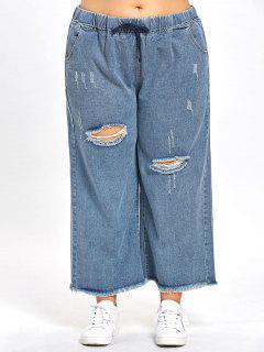 Drawstring Plus Size Distressed Jeans - Blue 4xl