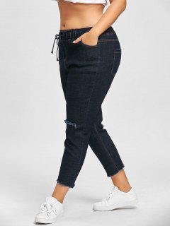 Distressed Plus Size Drawstring Jeans - Cerulean 4xl