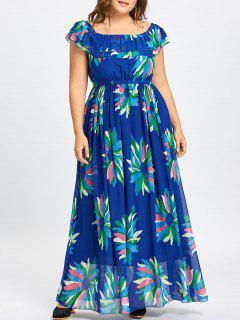 Flounce Plus Size Maxi Floral Chiffon Dress - Blue 6xl