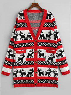 Button Up Elk Geometric Christmas Cardigan - Red M
