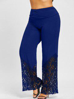 Plus Size Lace Trim Palazzo Pants - Deep Blue Xl