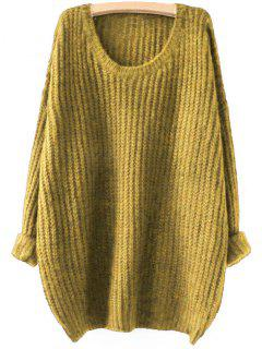 Drop Schulter Longline Chunky Pullover - Ingwer-gelb