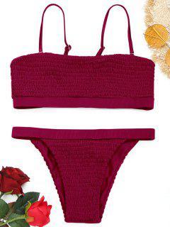 Smocked Bikini Set - Wine Red M