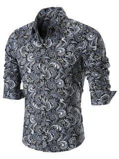 Button Paisley Print Long Sleeve Shirt - Black 4xl