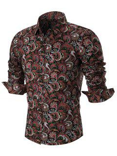 Button-Paisley-Druck-Langarm-Shirt - Rot L
