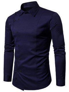 Chemise Longues Manches à Double Boutonage Oblique  - Bleu Violet Xl