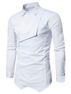 Faux Twinset Camisa Asimétrica De Doble Botonadura - Blanco 2xl