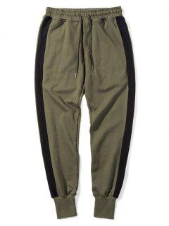 Side Striped Drawstring Sweatpants - Army Green 2xl
