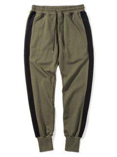 Pantalones De Chándal De Rayas Laterales - Verde Del Ejército L