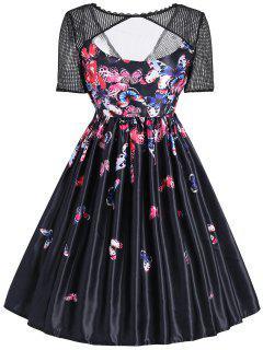 Vestido Vintage De Estampado De Mariposa Con Panel De Malla - Negro 2xl