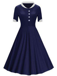 Buttons Stand Collar Vintage Midi Dress - Blue Xl