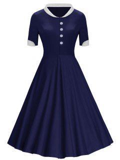Boutons Col Montant Vintage Midi Dress - Bleu 2xl