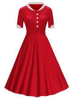 Botones Vestido A Media Pierna Con Cuello Alto - Rojo S