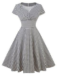 Vintage Sweetheart Neck Plaid Pin Up Skater Dress - Black L