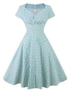 Vintage Sweetheart Neck Plaid Pin Up Skater Dress - Cloudy L