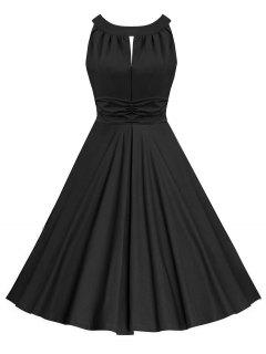 Keyhole Ruched Sleeveless Vintage Dress - Black M