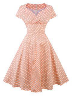Retro Polka Dot Pin Up Party Dress - Orangepink Xl