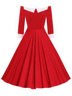 Robe Midi Vintage Évasée à Épaules Dénudées - Rouge 2xl