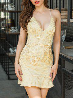 Backless Sequin Embroidered Cami Dress - Golden Xl