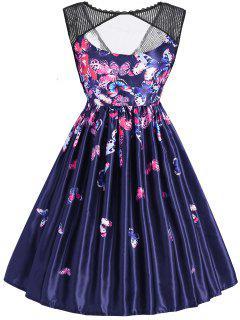 Vestido Vintage De Malla Sin Mangas Con Estampado De Mariposa - Azul 2xl