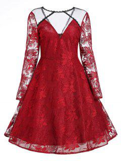Floral Lace Panel Overlay Vintage Kleid - Rot 2xl