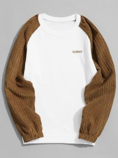 Corduroy Panel Crew Neck Sweatshirt - White L