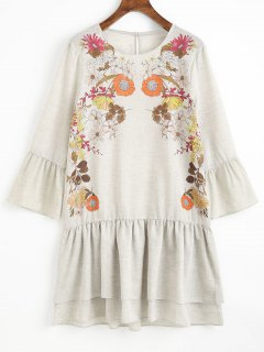 Ruffles Floral Shift Mini Dress - Light Gray S