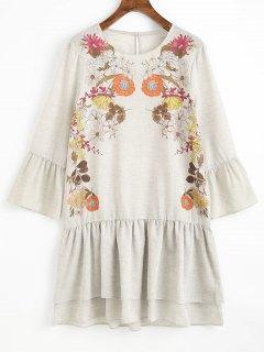 Ruffles Floral Shift Mini Dress - Light Gray M