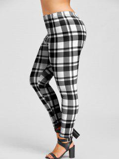 Plus Size Plaid Leggings - White And Black Xl